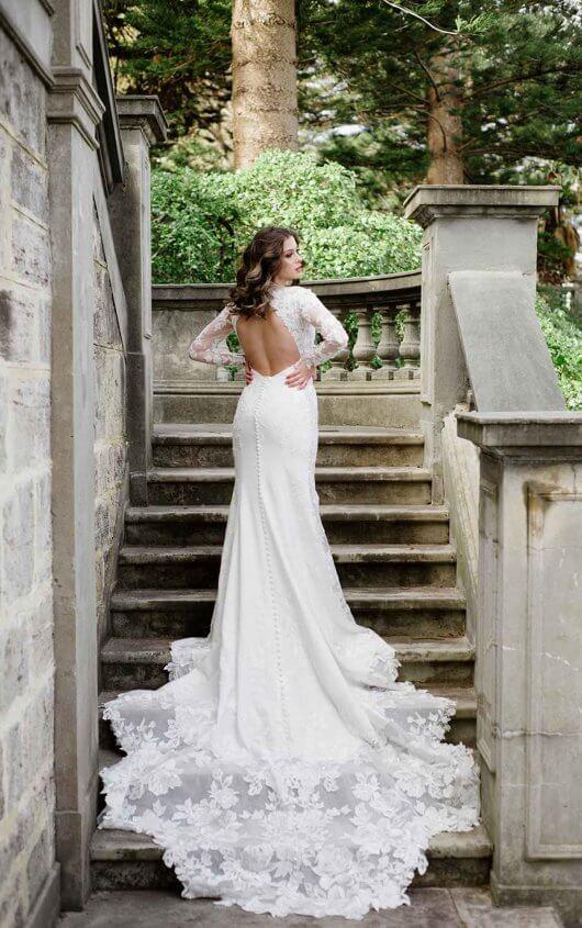 Long Sleeve Beaded Lace Bodice With Stretch Cape Skirt Wedding Dress by Martina Liana - Image 2