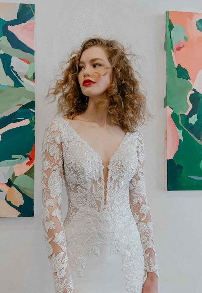 Long Sleeve Beaded Lace Bodice With Stretch Cape Skirt Wedding Dress by Martina Liana