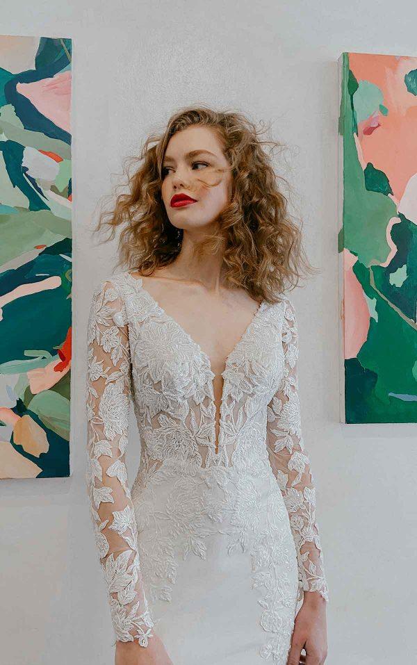 Long Sleeve Beaded Lace Bodice With Stretch Cape Skirt Wedding Dress by Martina Liana - Image 1