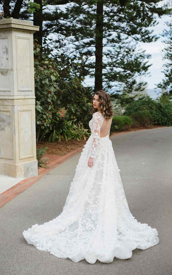 3D Floral Lace Wedding Dress With Sleeves by Martina Liana Luxe - Image 2