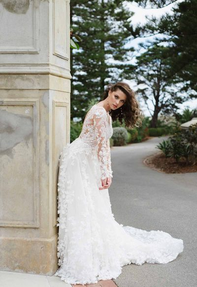 3D Floral Lace Wedding Dress With Sleeves by Martina Liana Luxe