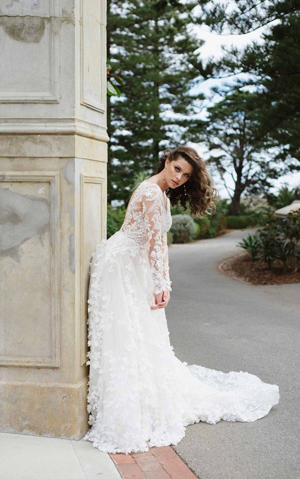 3D Floral Lace Wedding Dress With Sleeves by Martina Liana Luxe - Image 1