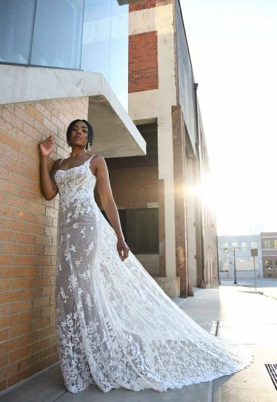 Sheer Floral Lace Wedding Dress With Square Neckline by Martina Liana