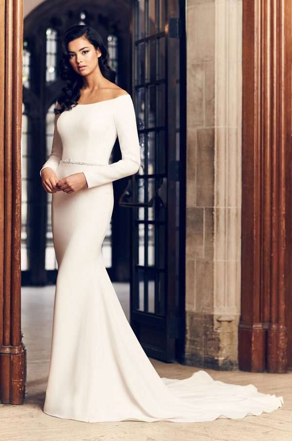 Simple Fit And Flare Long Sleeve Wedding Dress With Beaded Belt by Paloma Blanca - Image 1