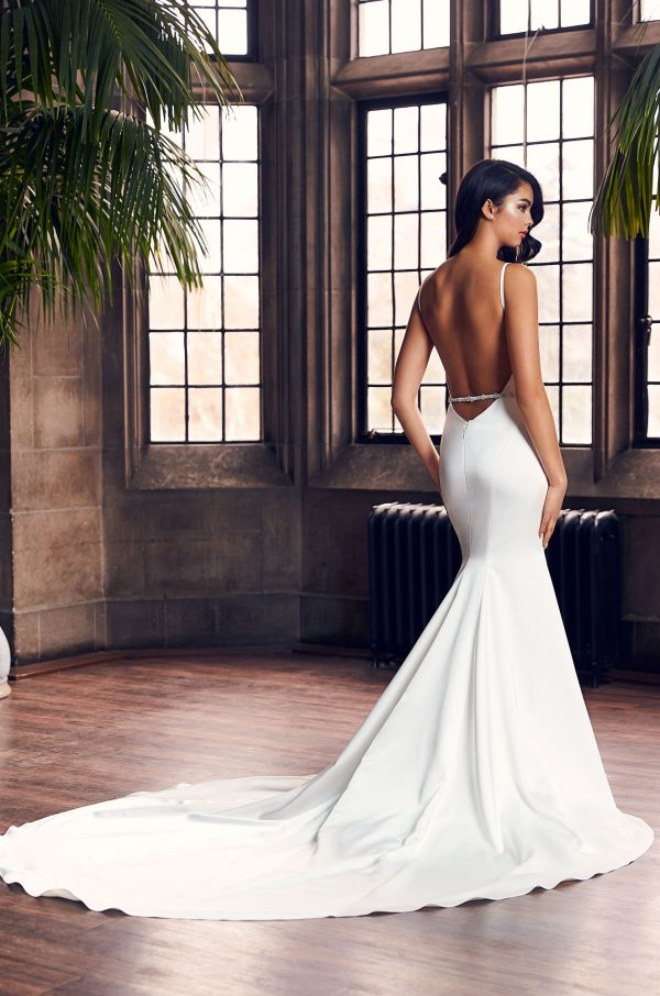 Spaghetti Strap Simple Fit And Flare Wedding Dress With Beaded Belt by Paloma Blanca - Image 2