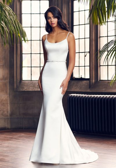 Spaghetti Strap Simple Fit And Flare Wedding Dress With Beaded Belt by Paloma Blanca