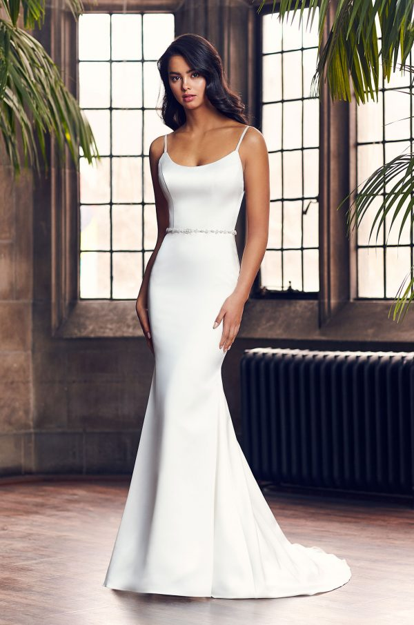 Spaghetti Strap Simple Fit And Flare Wedding Dress With Beaded Belt by Paloma Blanca - Image 1