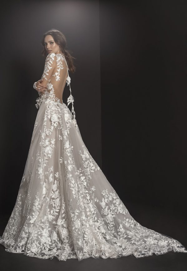 Long Sleeved High Neck Illusion Bodice Floral Embroidered A-line Wedding Dress by Pnina Tornai - Image 2
