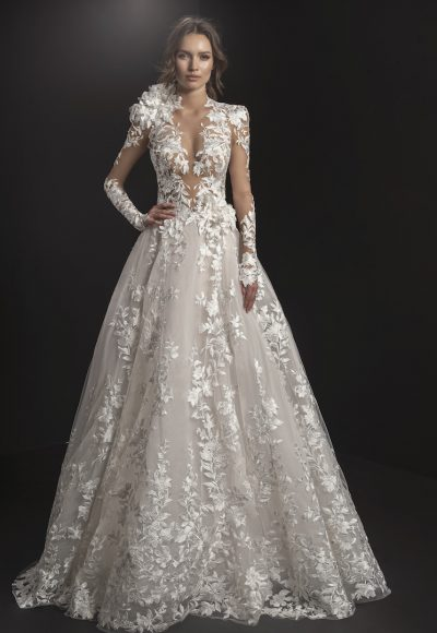 Long Sleeved High Neck Illusion Bodice Floral Embroidered A-line Wedding Dress by Pnina Tornai