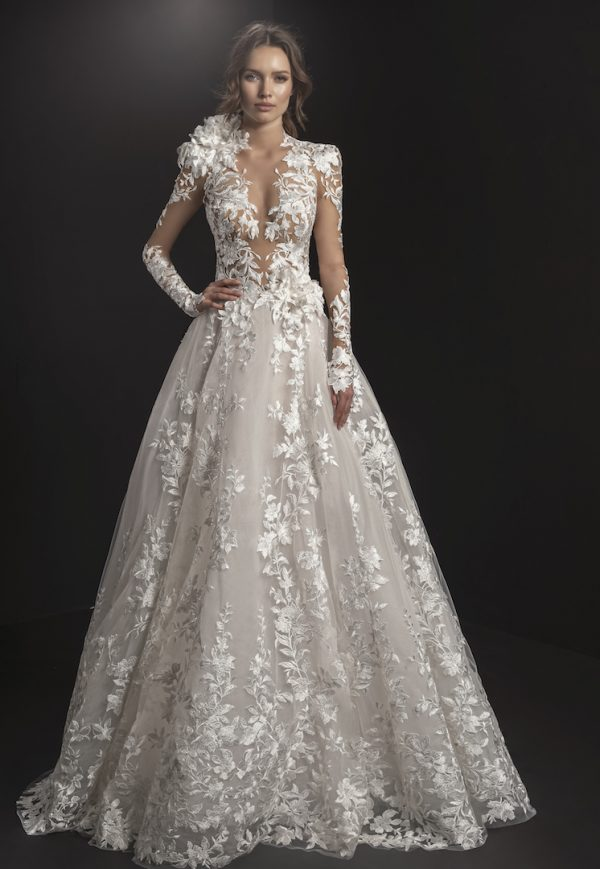 Long Sleeved High Neck Illusion Bodice Floral Embroidered A-line Wedding Dress by Pnina Tornai - Image 1