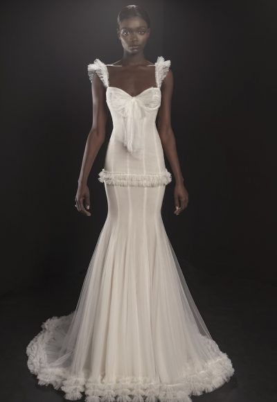 Sleeveless Sweetheart Neckline Tulle Fit And Flare Wedding Dress With Ruffle Detailing by Pnina Tornai