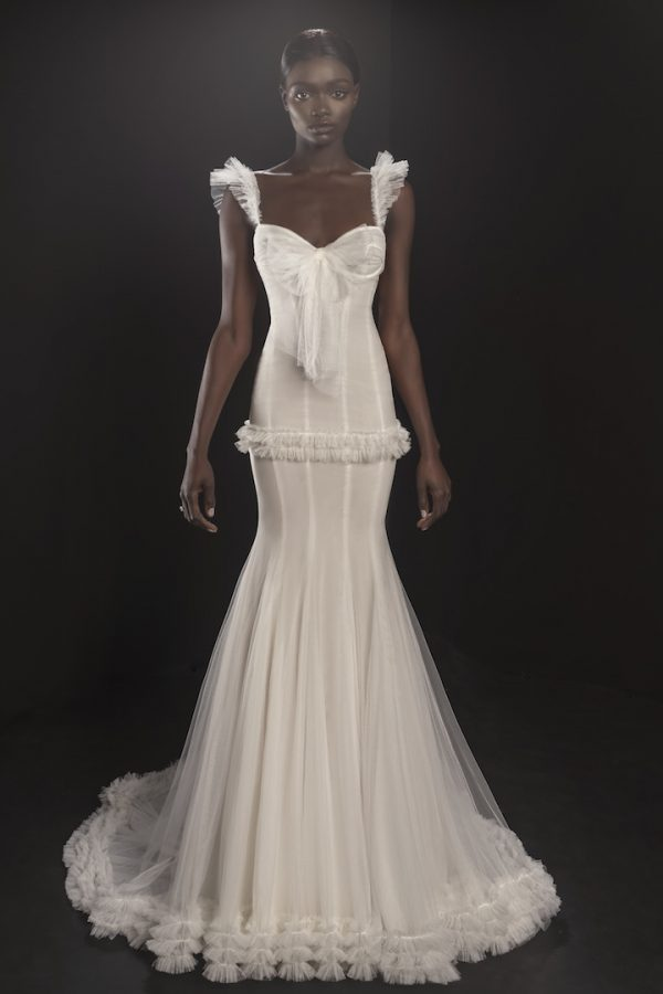 Sleeveless Sweetheart Neckline Tulle Fit And Flare Wedding Dress With Ruffle Detailing by Pnina Tornai - Image 1