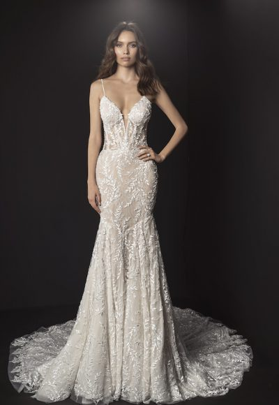 Spaghetti Strap Deep V Illusion Neckline And Sheer Bodice Fit And Flare Wedding Dress With Beading And Embroidered Lace by Pnina Tornai