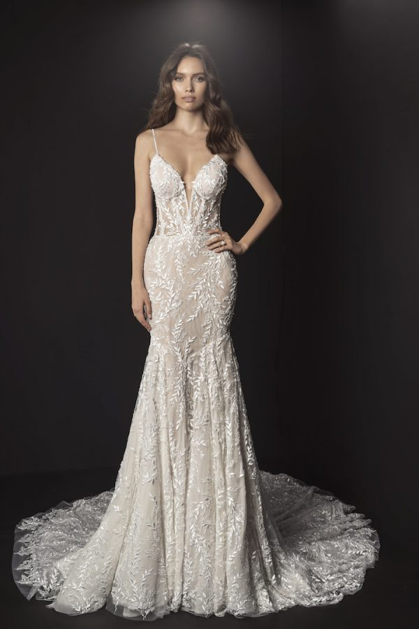 Spaghetti Strap Deep V Illusion Neckline And Sheer Bodice Fit And Flare Wedding Dress With Beading And Embroidered Lace by Pnina Tornai - Image 1