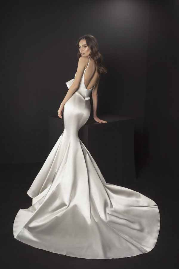 Spaghetti Strap Satin Mermaid Wedding Dress With Bow At Waist by Pnina Tornai - Image 2
