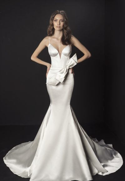 Spaghetti Strap Satin Mermaid Wedding Dress With Bow At Waist by Pnina Tornai