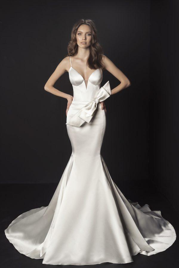 Spaghetti Strap Satin Mermaid Wedding Dress With Bow At Waist by Pnina Tornai - Image 1