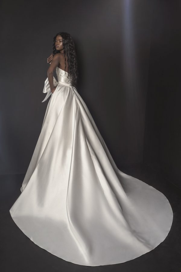 Strapless Mikado A-line Wedding Dress With Bow At Waist by Pnina Tornai - Image 2