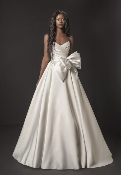 Strapless Mikado A-line Wedding Dress With Bow At Waist by Pnina Tornai