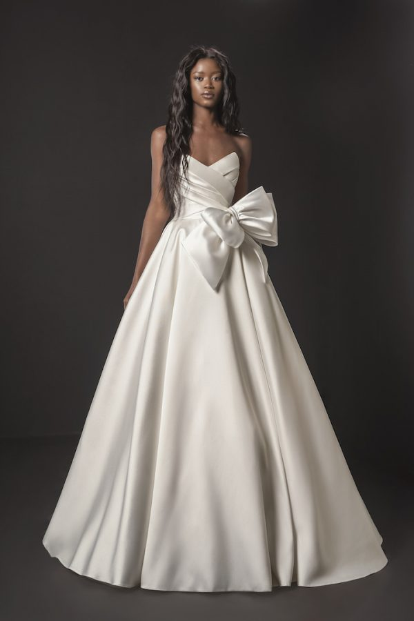 Strapless Mikado A-line Wedding Dress With Bow At Waist by Pnina Tornai - Image 1
