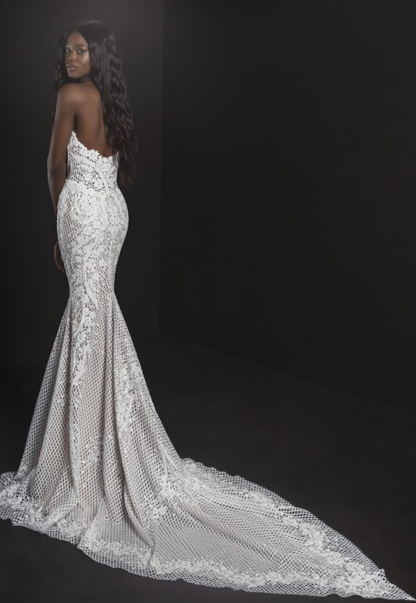 Strapless Sheath Embroidered Lace Wedding Dress by Pnina Tornai - Image 2
