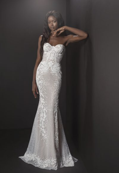 Strapless Sheath Embroidered Lace Wedding Dress by Pnina Tornai