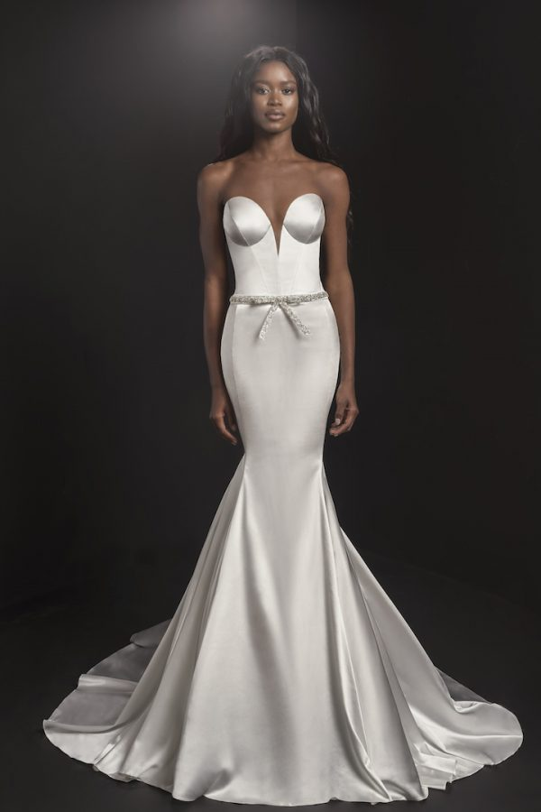 Strapless Sweetheart Neckline Mermaid Wedding Dress With Embroidered Belt by Pnina Tornai - Image 1