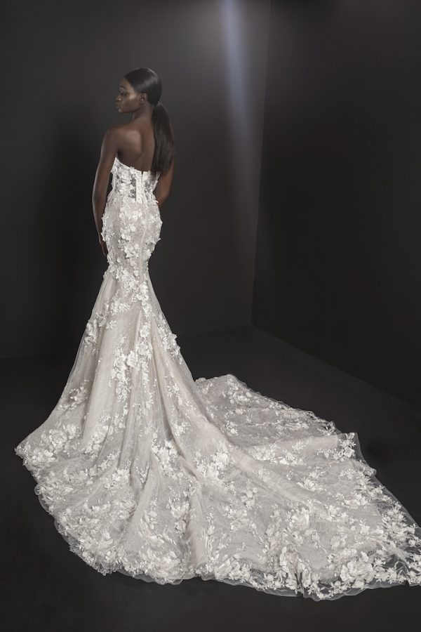 Strapless V-neck Illusion Neckline Fit And Flare Wedding Dresses With Floral Applique by Pnina Tornai - Image 2
