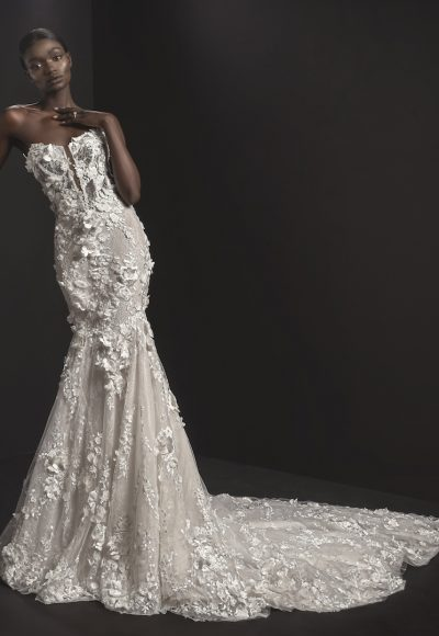 Strapless V-neck Illusion Neckline Fit And Flare Wedding Dresses With Floral Applique by Pnina Tornai