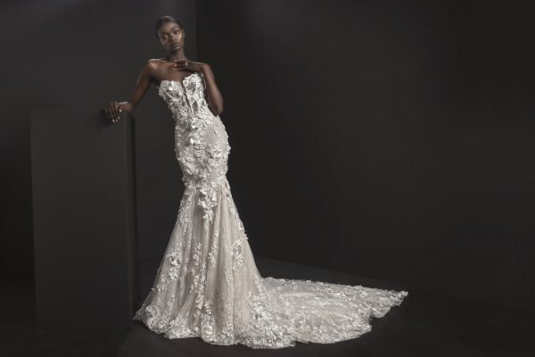Strapless V-neck Illusion Neckline Fit And Flare Wedding Dresses With Floral Applique by Pnina Tornai - Image 1