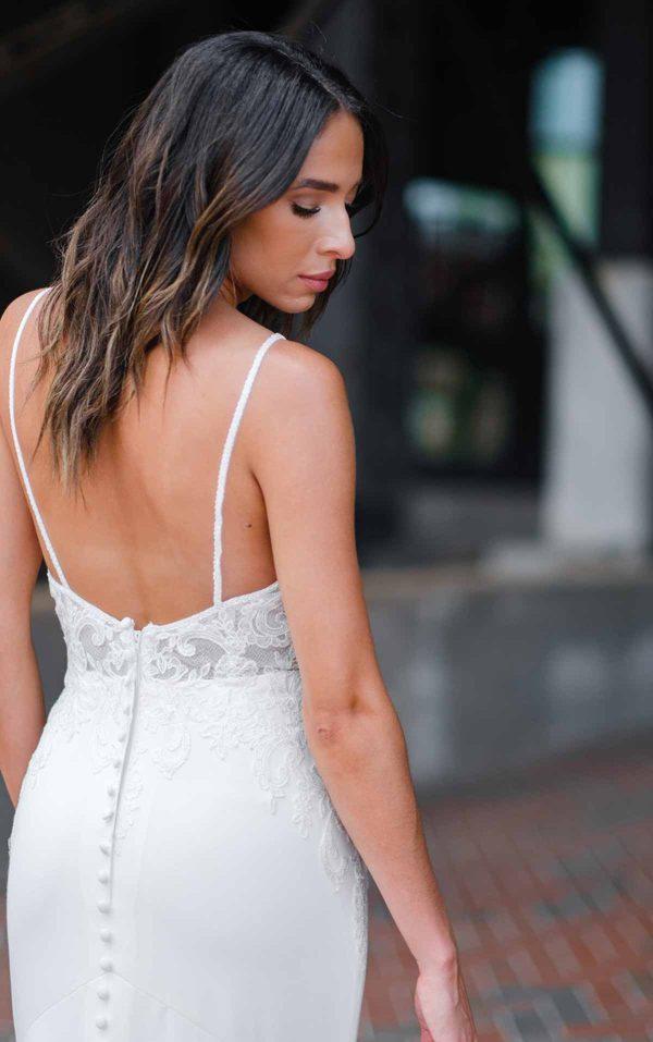 Clean Modern Wedding Dress With Sheer Bodice by Stella York - Image 2