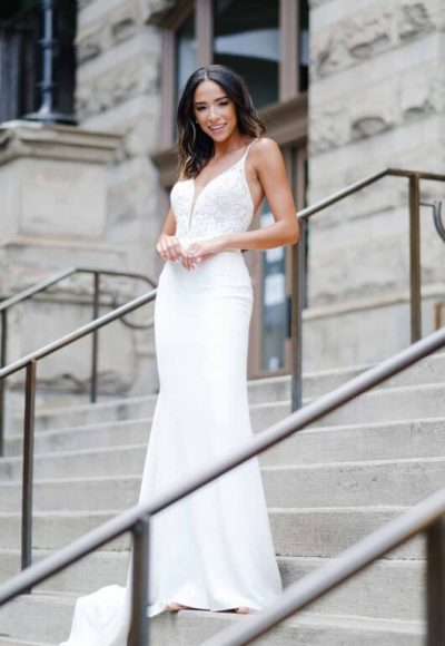 Clean Modern Wedding Dress With Sheer Bodice by Stella York