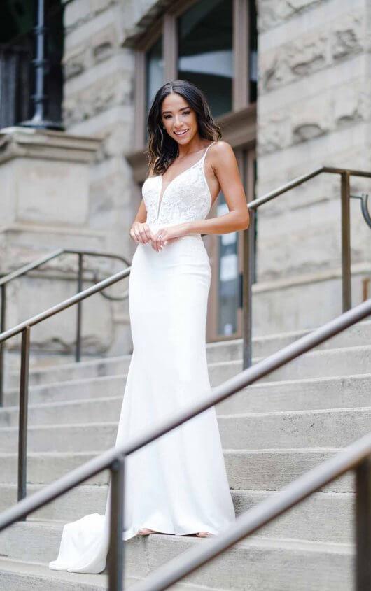 Clean Modern Wedding Dress With Sheer Bodice by Stella York - Image 1