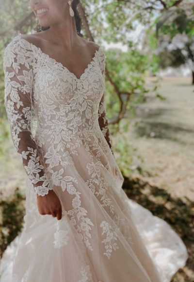 Romantic Lace Wedding Dress With Long Sleeves by Stella York
