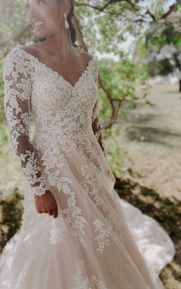 Romantic Lace Wedding Dress With Long Sleeves by Stella York - Image 1