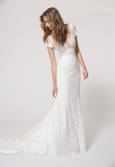 Cap Sleeve V-neck Lace Sheath Wedding Dress by Alyne by Rita Vinieris