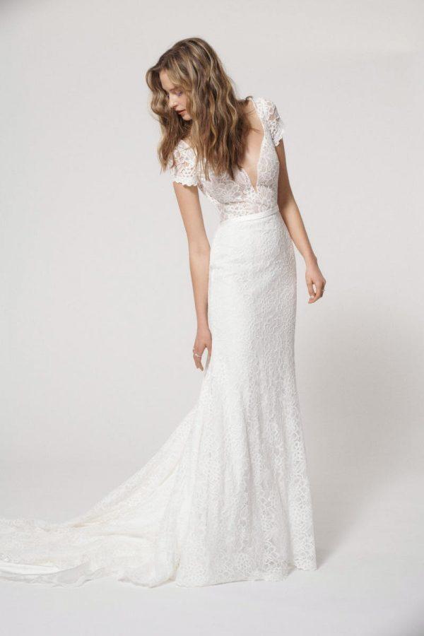 Cap Sleeve V-neck Lace Sheath Wedding Dress by Alyne by Rita Vinieris - Image 1
