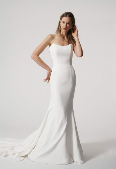 Strapless Fit and Flare Simple Wedding Dress with Illusion Back by Alyne by Rita Vinieris