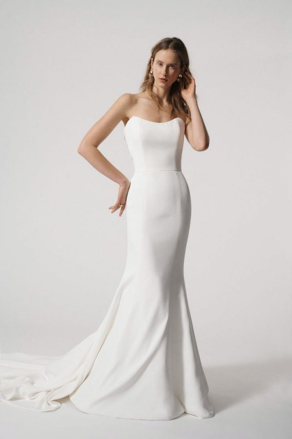 Strapless Fit and Flare Simple Wedding Dress with Illusion Back by Alyne by Rita Vinieris - Image 1