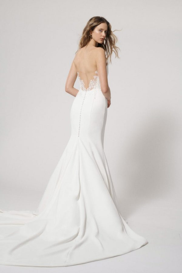 Strapless Fit and Flare Simple Wedding Dress with Illusion Back by Alyne by Rita Vinieris - Image 2