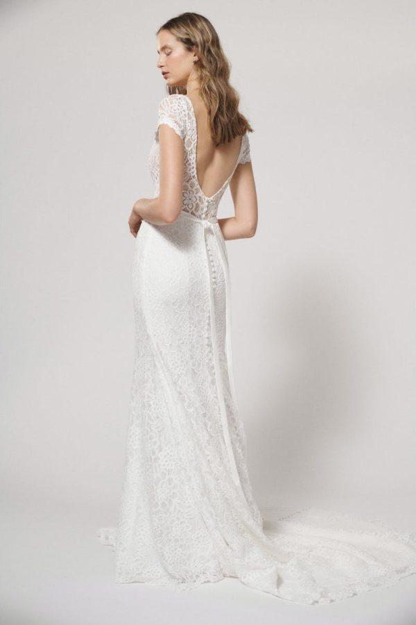 Cap Sleeve V-neck Lace Sheath Wedding Dress by Alyne by Rita Vinieris - Image 2