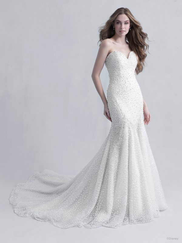 Strapless Sweetheart Neckline Mermaid Wedding Dress with Beads, Pearls, and Sparkled Tulle by Disney Fairy Tale Weddings Platinum Collection - Image 1