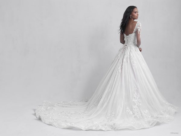 Long Sleeve Ball Gown Wedding Dress with Embellished Illusion Sleeves and Tulle Skirt by Disney Fairy Tale Weddings Platinum Collection - Image 2