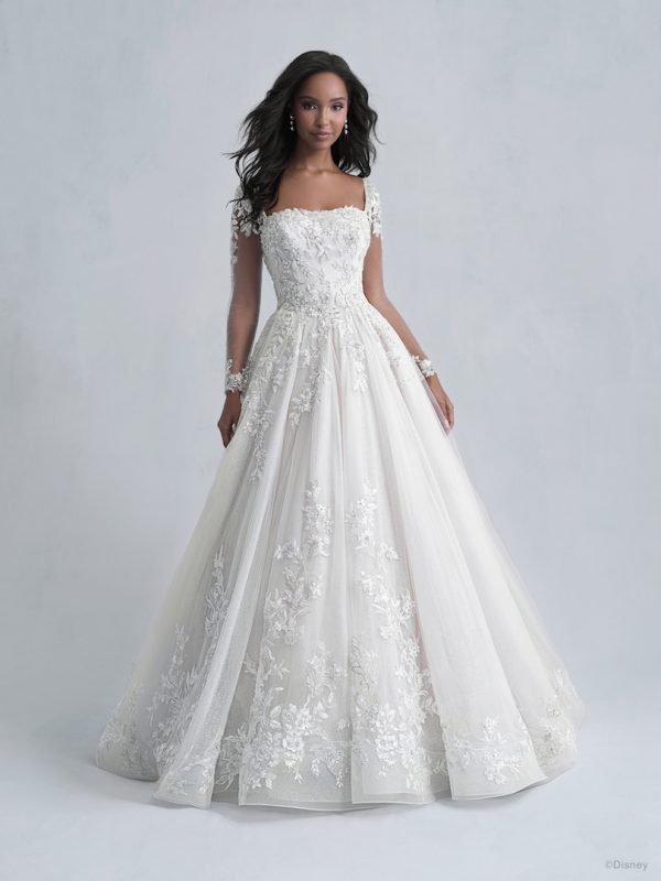 Long Sleeve Ball Gown Wedding Dress with Embellished Illusion Sleeves and Tulle Skirt by Disney Fairy Tale Weddings Platinum Collection - Image 1