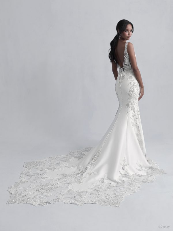 Sleeveless V-Neckline Fit and Flare Wedding Dress with Beadwork Throughout by Disney Fairy Tale Weddings Platinum Collection - Image 2