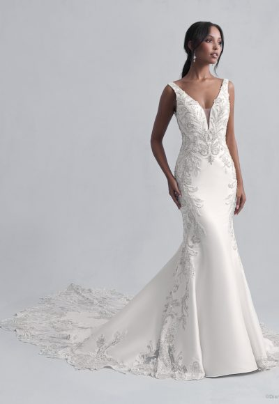 Sleeveless V-Neckline Fit and Flare Wedding Dress with Beadwork Throughout by Disney Fairy Tale Weddings Platinum Collection