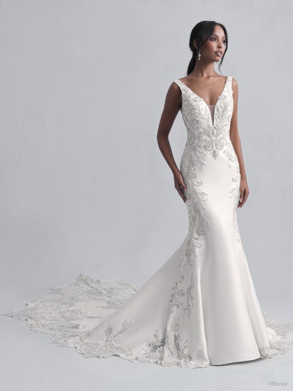 Sleeveless V-Neckline Fit and Flare Wedding Dress with Beadwork Throughout by Disney Fairy Tale Weddings Platinum Collection - Image 1