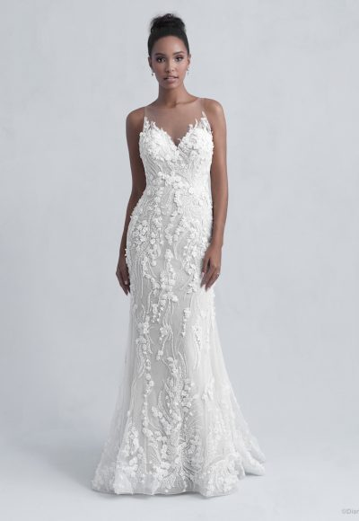 Sleeveless V-Neck Illusion Neckline Sheath Wedding Dress with Beading and Floral Applique Throughout by Disney Fairy Tale Weddings Platinum Collection