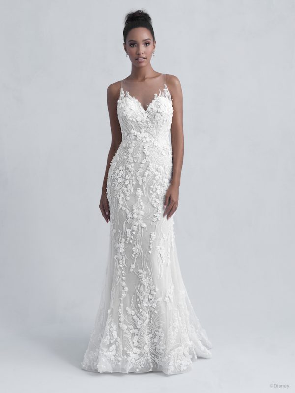 Sleeveless V-Neck Illusion Neckline Sheath Wedding Dress with Beading and Floral Applique Throughout by Disney Fairy Tale Weddings Platinum Collection - Image 1
