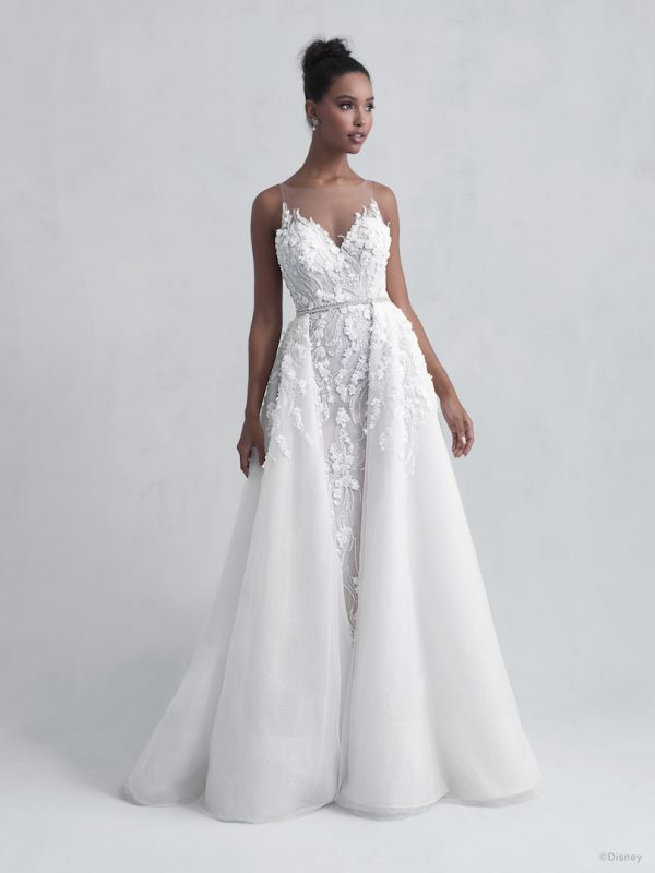 Sleeveless V-Neck Illusion Neckline Sheath Wedding Dress with Beading and Floral Applique Throughout by Disney Fairy Tale Weddings Platinum Collection - Image 2